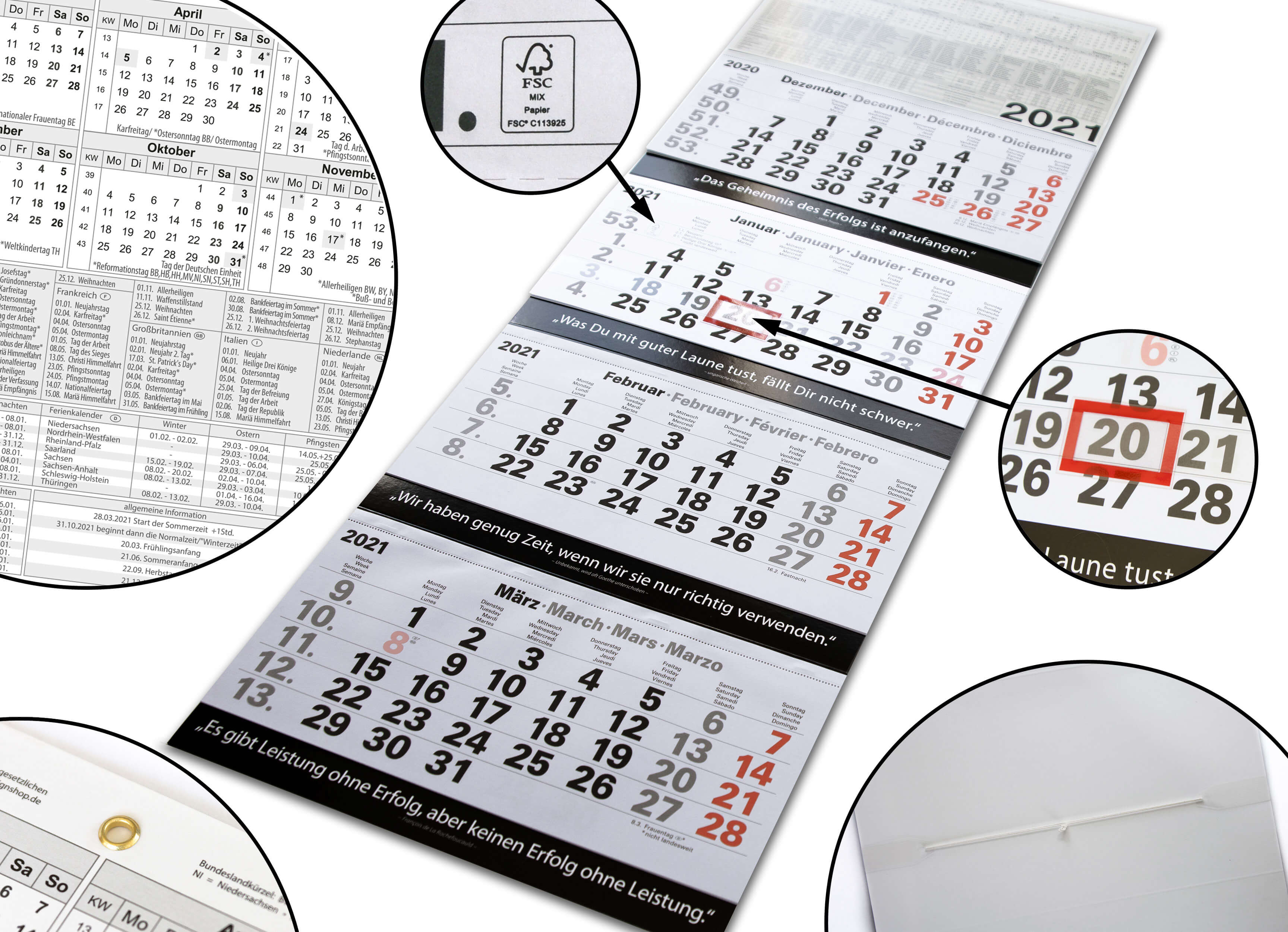 4-Monatskalender 2021 Wandkalender groß - Kombi 4 Monatskalender mit Datumsschieber